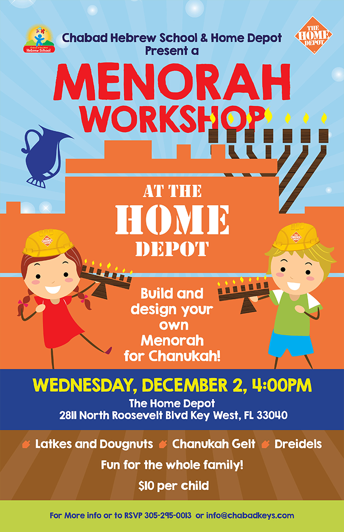 Menorah Workshop @ Home Depot - Chabad Jewish Center of the ...